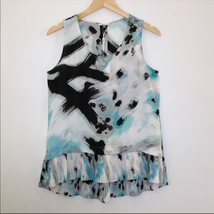MILANO High Low Blue Topaz Sleeveless Blouse
